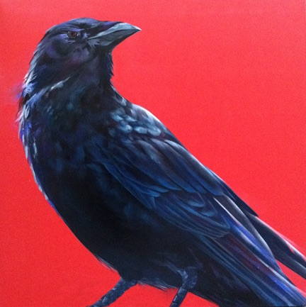 Melissa Del Pinto – Crow on Red 48×48